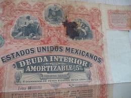 Action Banque Banco Emprunt 5% Estados UnidosMexicanos Deuda Interior 1898 En L'état - Banque & Assurance