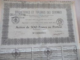 Action 500 Francs Au Porteur Briqueteries Et Tuileries Des Cévennes Alès Alais - Industrie