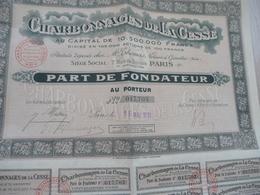 Action Part De Fondateur Charbonnages De La Cesse - Mines