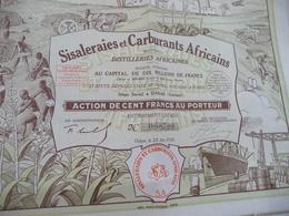 X 2 Action 100 Francs Au Porteur Sisaleraies Et Carburants Africains Dakar Sénégal - Afrique