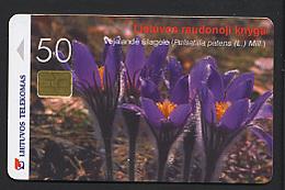 LITUANIE LITHUANIA 2000, FLEURS, Telecarte / Telephone Card /  Utilisée / Used. R611Fl - Fleurs