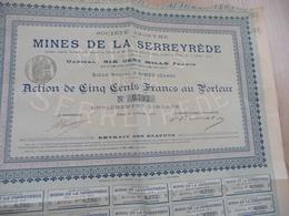 Action 500 Francs Au Porteur Mines De La Serreyrède Nîmes Gard - Mines