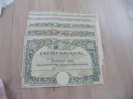 Action X 5 Crédit National Emprunt 1920 Obligations 500 Francs - Banque & Assurance