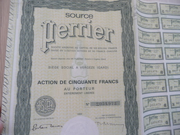 Action 50 Francs Source Perrier Vergèze Gard 1965 - Water