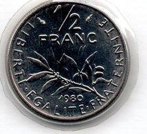Semeuse  -  1/2 Francs 1980   -  état  FDC  - Scellée - France