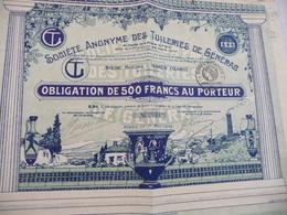 Action 500 Francs Au Porteur Société Anonyme Des Tuileries De Générac Nîmes Gard - Industrie