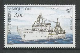 SPM MIQUELON 1991 N° 550 ** Neuf MNH Superbe  C 1.60 € Bateaux Le Cryos Boats Ships Pêche Fishes - Neufs