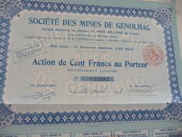 Action 100 Francs Au Porteur Société Des Mines De Genolhac  Gard - Mines