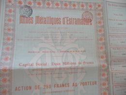 Action 250 Francs Au Porteur Mines Métalliques D'Estramadure Bruxelles - Mines