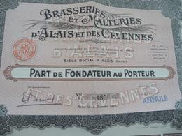 Action Part Au Fondateur Brasseries Et Malteries D'Alais  Et Des Cévennes Alès - Industrie