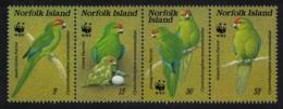 Norfolk Birds WWF Green Parrot Strip Of 4v MNH SG#425-428 SC#421 A-d MI#421-424 - Norfolk Island