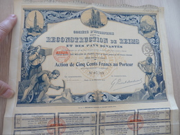 Action 500 Francs Au Porteur Société De Reconstruction De Reims Et Des Pays Dévastés - Industrie