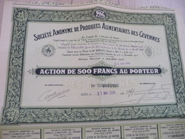 Action 500 Francs Au Porteur Société Anonyme De Produits Alimentaires Des Cévennes Gard Alais Alès - Industrie