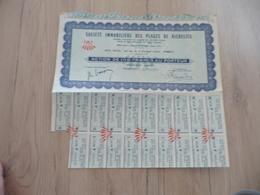 Action 100 Francs Au Porteur Société Immobilière Des Plages De Richelieu - Tourisme
