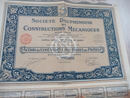 Action 125 Francs Au Porteur Société Dauphinoise De Constructions Mécaniques - Industrie
