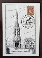 FRANCE  Carte Maximum, 1er Jour. Journée Du Timbre 1947 Cachet BORDEAUX 15 Mars1947 - Cartoline Maximum