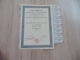 Action 5 000 Francs Le Phénix Société Des Caves Associées Fromage Roquefort Sur Soulzon - Agriculture