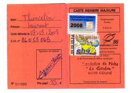 FRANCE. TIMBRE. FISCAL. VIGNETTE VIGNETTES FISCAUX. CARTE PERMIS PÊCHE CHASSE - Revenue Stamps