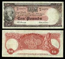 AUSTRALIA • Coombs/Wilson • QEII • CBA • 1954-9 • Ten Pounds - Emissioni Governative Pre-decimali 1913-1965