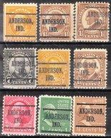 USA Precancel Vorausentwertung Preo, Locals Indiana, Anderson 219, 9 Diff. Perf. 2 X 11x11, 7 X 11x10 1/2 - Vorausentwertungen