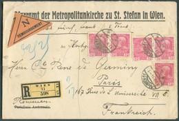10H. François-Joseph (x5) Obl. Dc WIEN 11 Sur Lettre Recommandée + Etiquette REMBOURSEMENT Du 27-III-1914 Vers Paris - 1 - Cartas