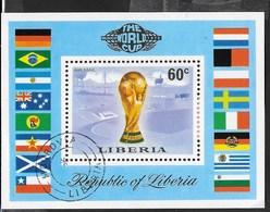 LIBERIA - COPPA DEL MONDO GERMANIA 1974 - FOGLIETTO USATO (YVERT 71 - MICHEL  BL72) - Coppa Del Mondo