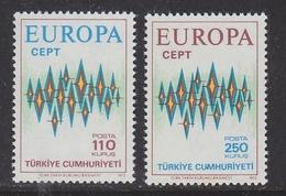 Europa Cept 1972 Turkey 2v ** Mnh (42634T) Promotion - 1972