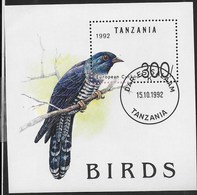 TANZANIA - EUROPEAN CUCKOO 1992 - FOGLIETTO USATO (YVERT BF 181 - MICHEL  BL190) - Cuckoos & Turacos