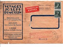 BELGIQUE AFFRANCHISSEMENT COMPOSE SUR LETTRE A EN TETE EXPRES POUR LA FRANCE 1948 - Marcophilie