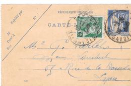 Entier Postal Type Paix N° 365 + Type Mercure N° 411 - Postal Stamped Stationery