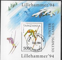 TANZANIA - GIOCHI OLIMPICI INVERNALI 1994 LILLEHAMMER - FOGLIETTO USATO (YVERT BF 228 - MICHEL  BL 239) - Winter 2016: Lillehammer (Youth Olympic Games)