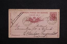 ITALIE - Entier Postal + Réponse De Isola Del Cantone Pour La France En 1891 - L 28805 - 1878-00 Humbert I