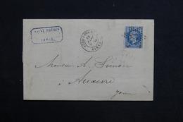 FRANCE - Lettre De Paris Pour Auxerre En 1869 , Oblitération étoile 17 Sur Napoléon - L 28808 - 1849-1876: Période Classique