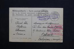 BELGIQUE - Carte De Correspondance De Prisonnier En Suisse Pour Ostende En 1918 , Cachet De Censure - L 28811 - Guerre 14-18