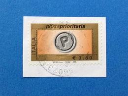 2006 POSTA PRIORITARIA 0,60 CON MILLESIMO ITALIA FRANCOBOLLO USATO STAMP USED - 6. 1946-.. Repubblica
