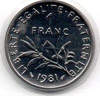 Semeuse  -  1 Franc 1981   -  état   FDC - Scellée - Frankrijk