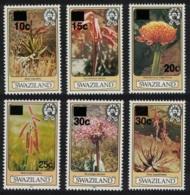 Swaziland Aloe Flowers 6v Overprints MNH SG#471-76 - Swaziland (1968-...)