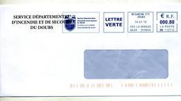 Lettre Flamme Ema Besançon Service Incendie Secours Sdis Theme Pompier - Marcophilie (Lettres)