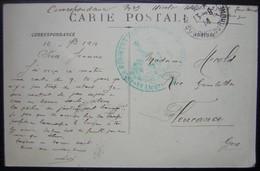 1914 Cachet Bleu Lieutenant Régiment Territorial Sur Une Carte D'Aix En Provence Pour Fleurance (Gers) - Marcophilie (Lettres)