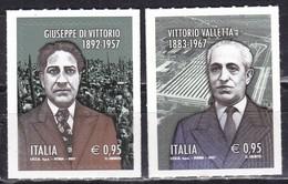 Repubblica Italiana, 2017 - Gisepppe Di Vittorio E Vittorio Valletta - Nr.3833/3834 MNH** - 6. 1946-.. Repubblica