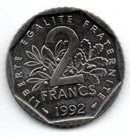 Semeuse -  2 Francs 1992  - état  SPL - France