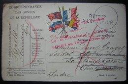 1914 Carte En Franchise Avec Retour, Le Destinataire N'a Pu être Atteint En Temps Utile En Rouge - Postmark Collection (Covers)