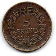 5 Francs 1946 C  -- état  TB  - - France