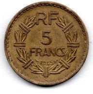 5 Francs 1945 C  -- état  TTB  -  Coups Tranche - France