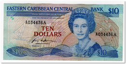 EAST CARIBBEAN STATES,10 DOLLARS,1985-93,P.23a1,VF+ - East Carribeans