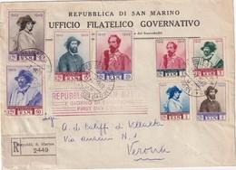 SAN MARINO 1949 LETTRE RECOMMANDEE AVEC CACHET ARRIVEE VERONA - Saint-Marin