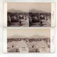 AK-1617/ 2 X Pompeji Foro Civile Stereofoto V Alois Beer ~ 1900 - Stereo-Photographie