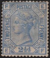 ~~~ Great Britain 1880/1883 - Queen Victoria 2½ Pence Plate 23 FE-EF - SG 41 * MH £450 - Gumless UL Corner~~~ - 1840-1901 (Viktoria)