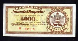 BOSNIEN,  BOSNIA  5000,   MONEY,  ROBNA KUCA , NARODNI MAGAZIN  BON, KUPON, CUPON - Bosnia And Herzegovina