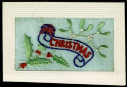 Ref 1288 - WWI Silk Postcard - Christmas Greetings With Union Jack Flag - Embroidered